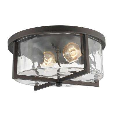 2-Light Rubbed Oil Bronze Flushmount