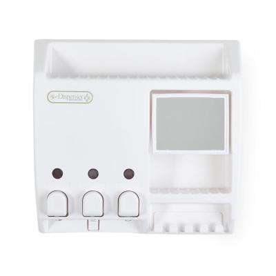 Ulti-Mate 3-Dispenser in White with Mirror