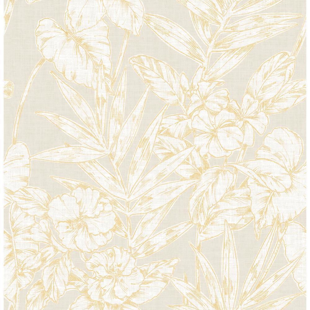 56.4 sq. ft. Fiji Mustard Floral Wallpaper