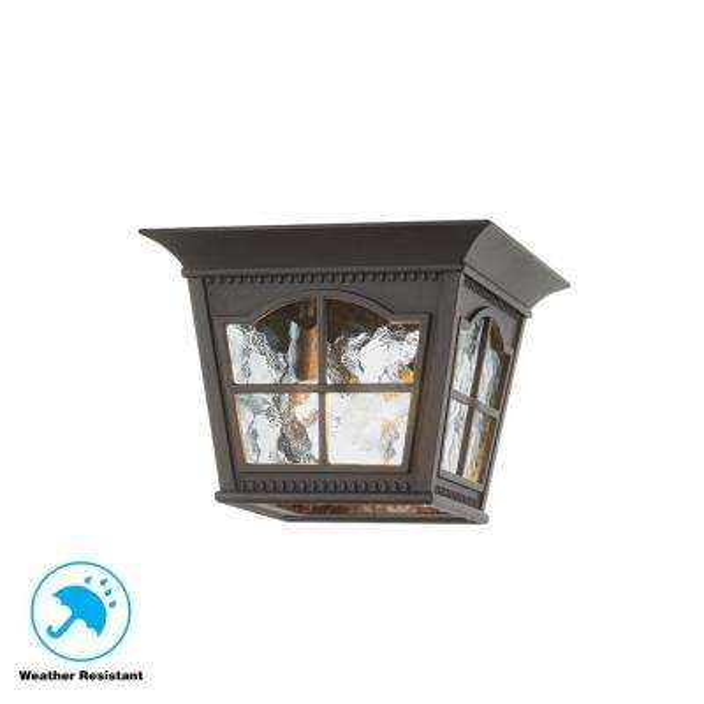 Square Black 3-Light Outdoor Flush Mount