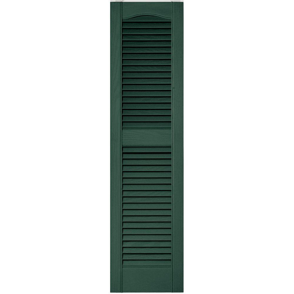 Builders Edge 12 in. x 48 in. Louvered Vinyl Exterior Shutters ...