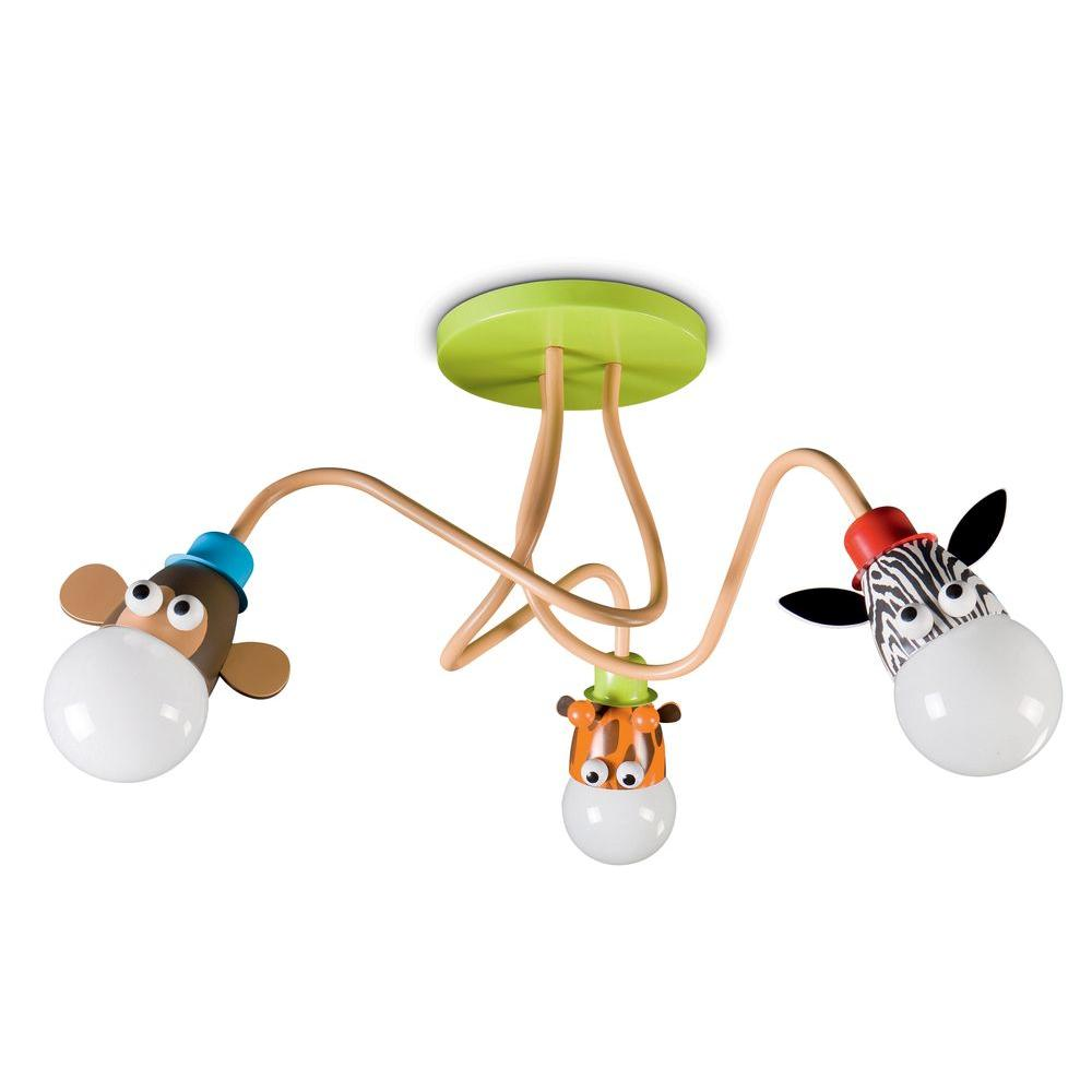 Philips Kidsplace Zoo 3-Light Multi-Color Giraffe/Monkey/Zebra Ceiling Semi-Flush Mount Light