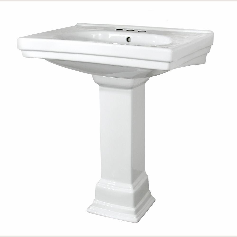 Structure Vitreous China Pedestal Bathroom Basin Combo in White