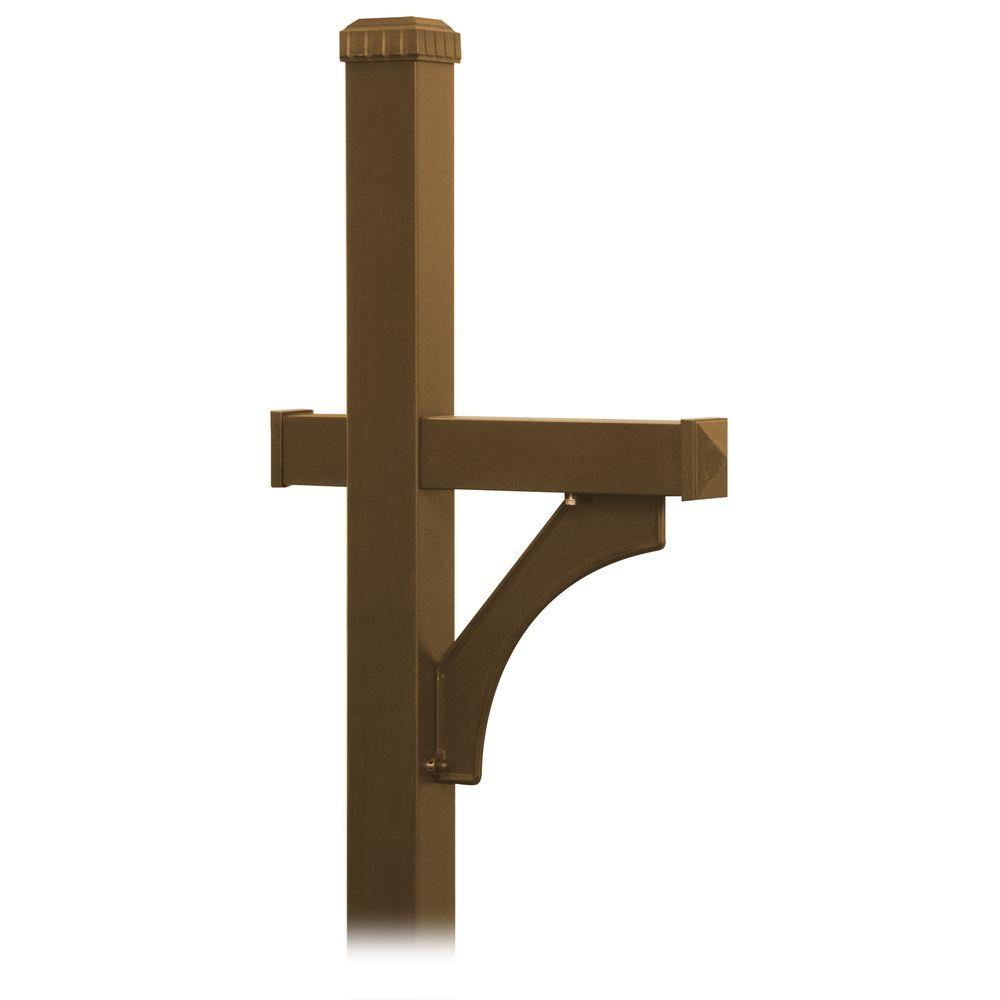 Salsbury Industries Deluxe 1-Sided In-Ground Mounted Mailbox Post for Designer Roadside Mailbox in Bronze