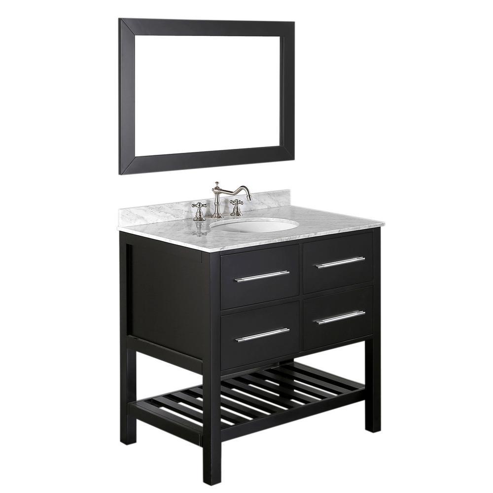 Bosconi bosconi 36 in w single bath vanity in black with - Bathroom vanity black marble top ...
