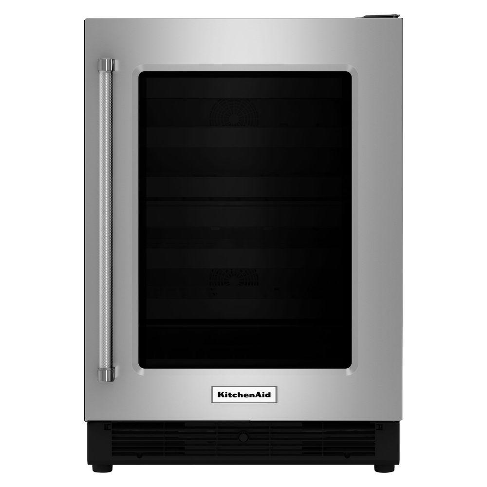 KitchenAid 24 In. W 5.1 Cu. Ft. Undercounter Refrigerator In Stainless  Steel KURR204ESB   The Home Depot