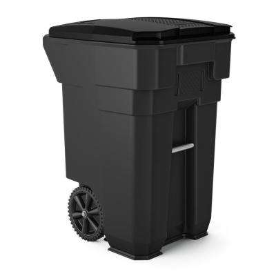 65 gal. Gray Plastic Curbside Commercial Trash Can with Wheels and Attached Lid