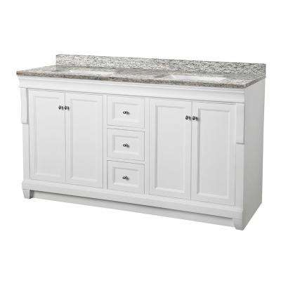 Naples 61 in. W x 22 in. D Vanity in White with Granite Vanity Top in Santa Cecilia with White Sink