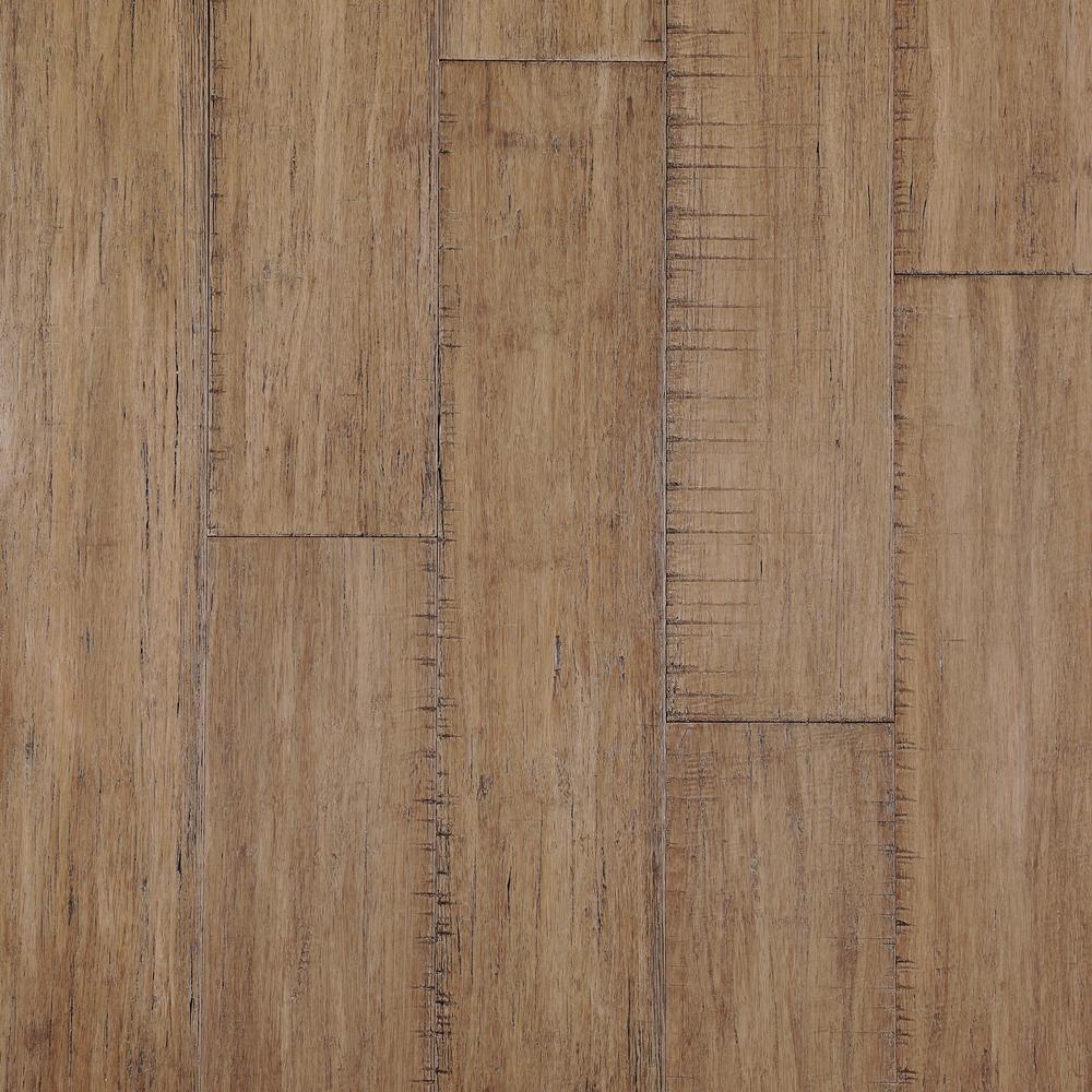 Take Home Sample - Hand Scraped Strand Woven Hazelnut Click Lock Bamboo Flooring- 5 in. x 7 in.