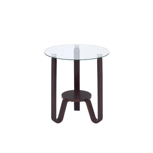 Acme Furniture Darby Dark Walnut And Clear Glass End Table 81107