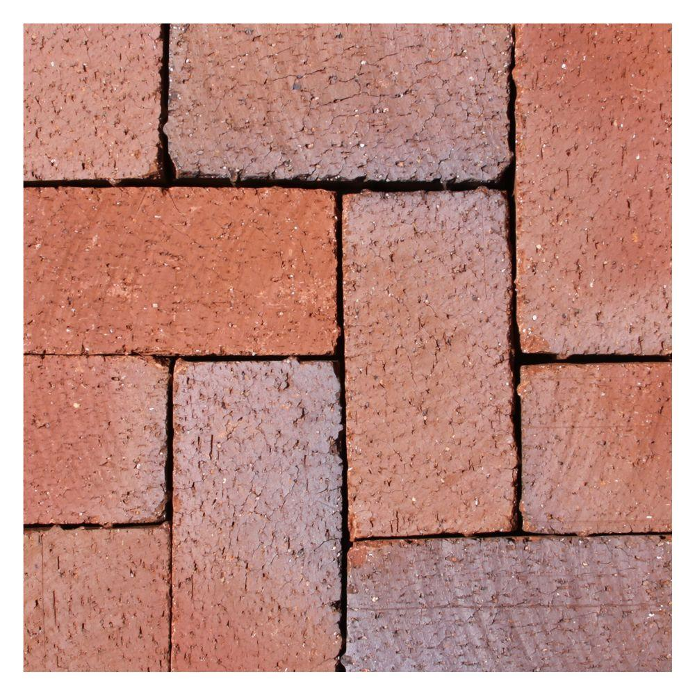 Thin Overlay Pavers Mission Split 8 Inx 4 Inx 1.63 Intumbled Clay Red Flash
