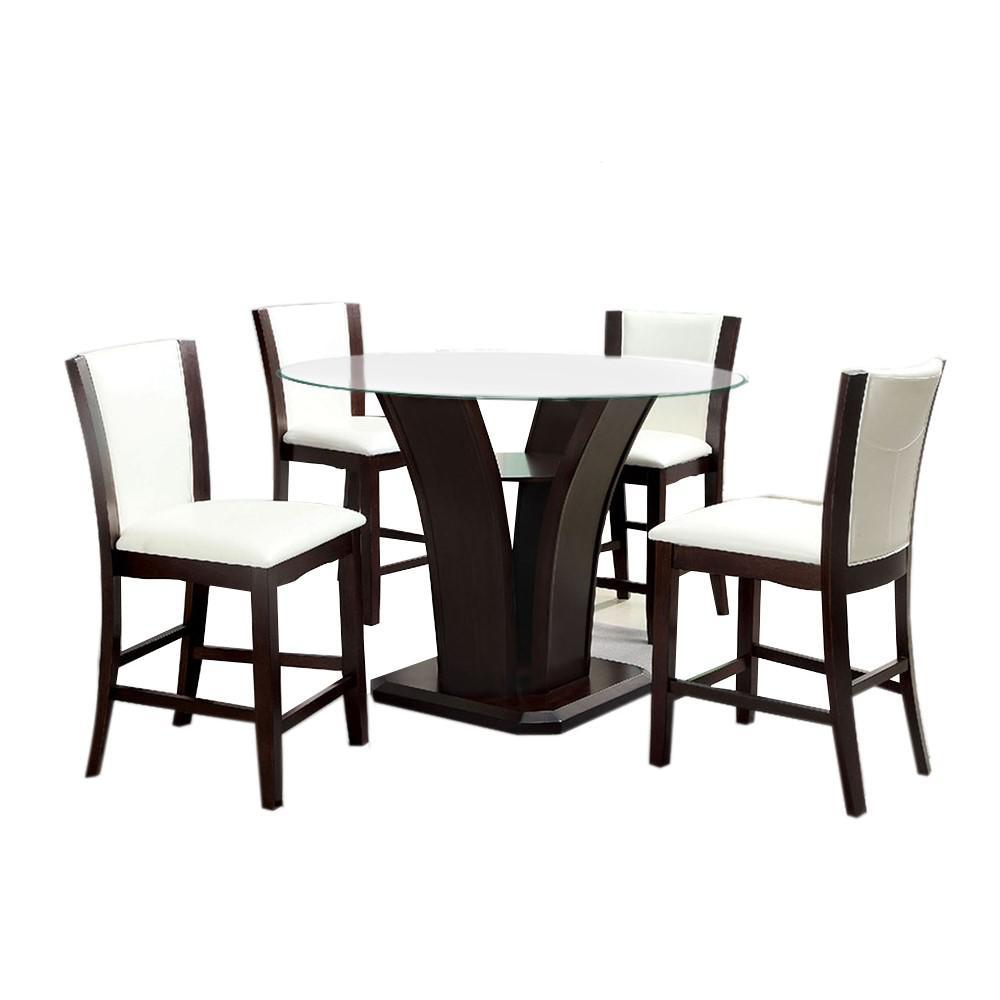 Manhattan III Counter Ht. Table Set In Dark Walnut Finish