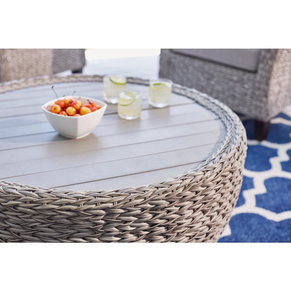 Hampton Bay 36 In Megan Grey All Weather Wicker Outdoor Patio Large Round Coffee Table With Slatted Wood Top
