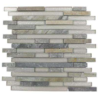 Tectonic Harmony Green Quartz Slate and White 12 in. x 12 in. x 8 mm Glass Mosaic Floor and Wall Tile