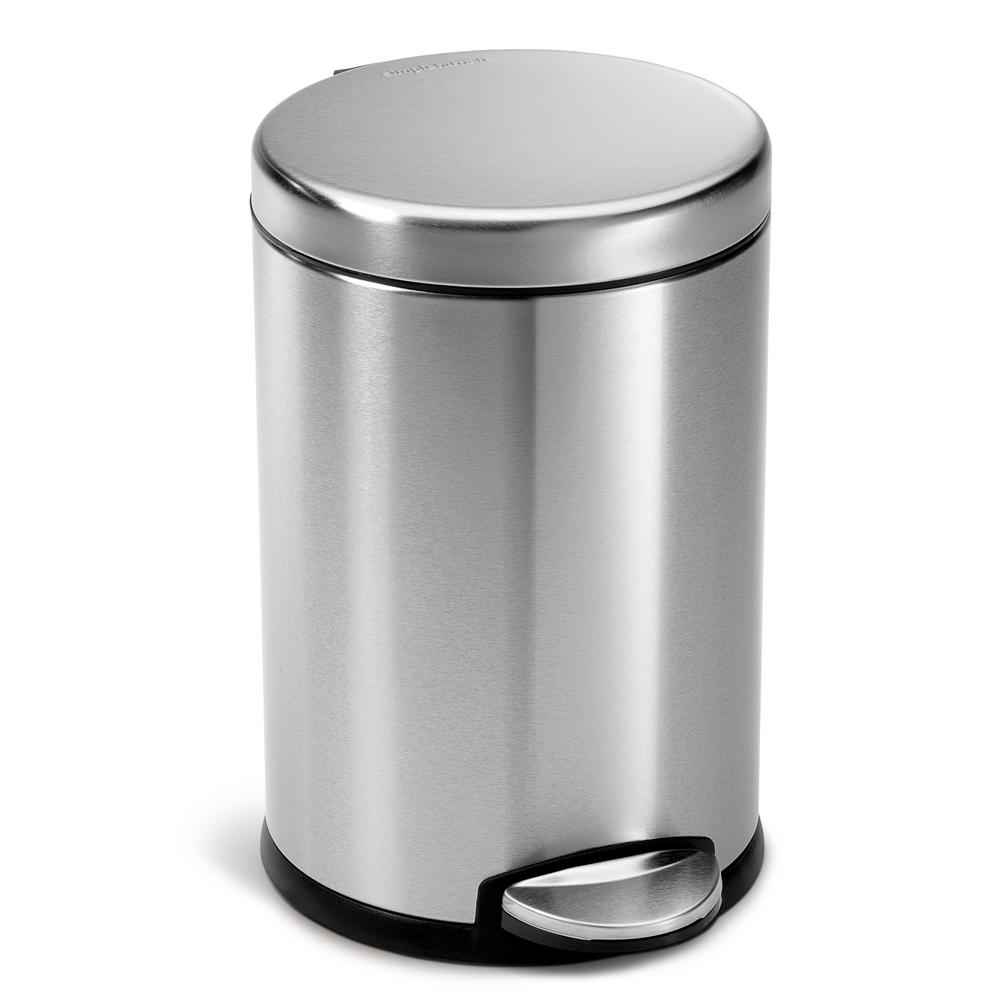 4 5 Liter Fingerprint Proof Brushed Stainless Steel Round Step On Trash Can