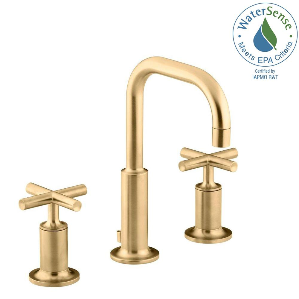 KOHLER Purist 8 in. Widespread 2-Handle Mid-Arc Bathroom Faucet in Vibrant Modern Brushed Gold