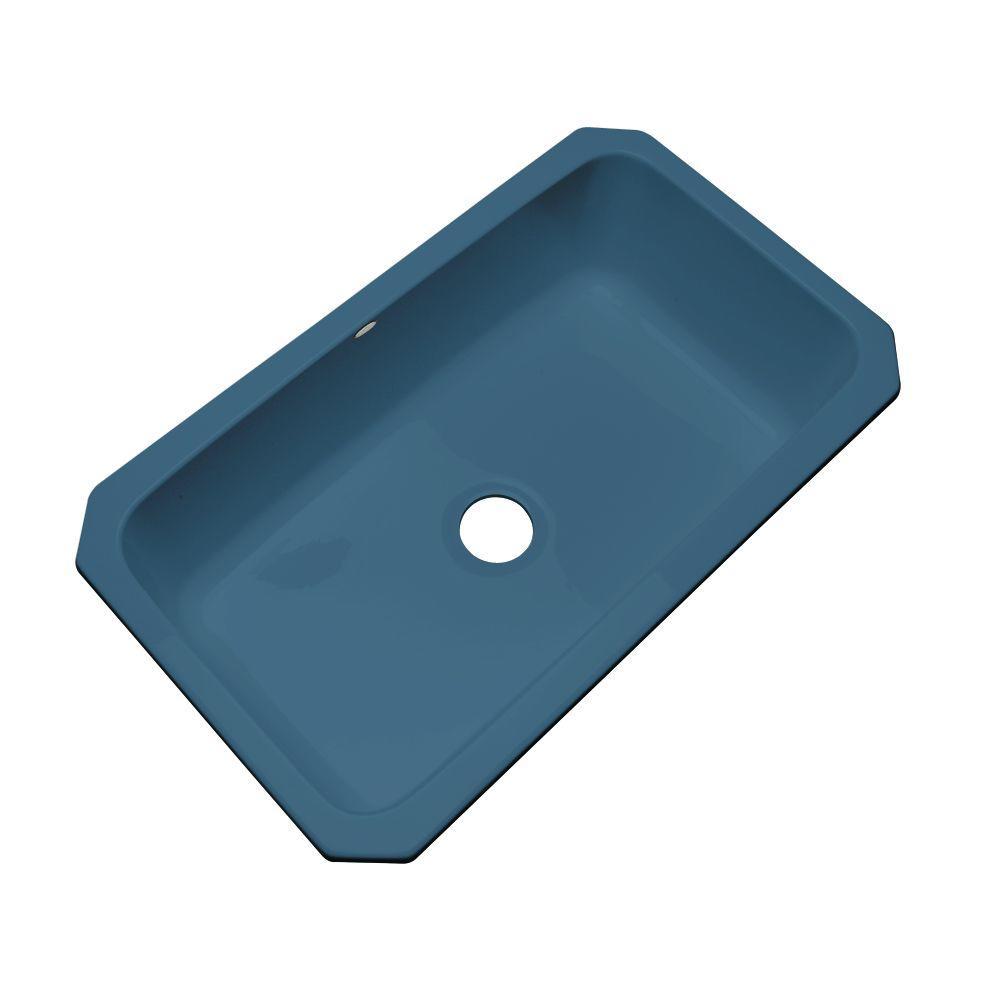 Thermocast Manhattan Undermount Acrylic 33 in. Single Basin Kitchen Sink in Rhapsody Blue