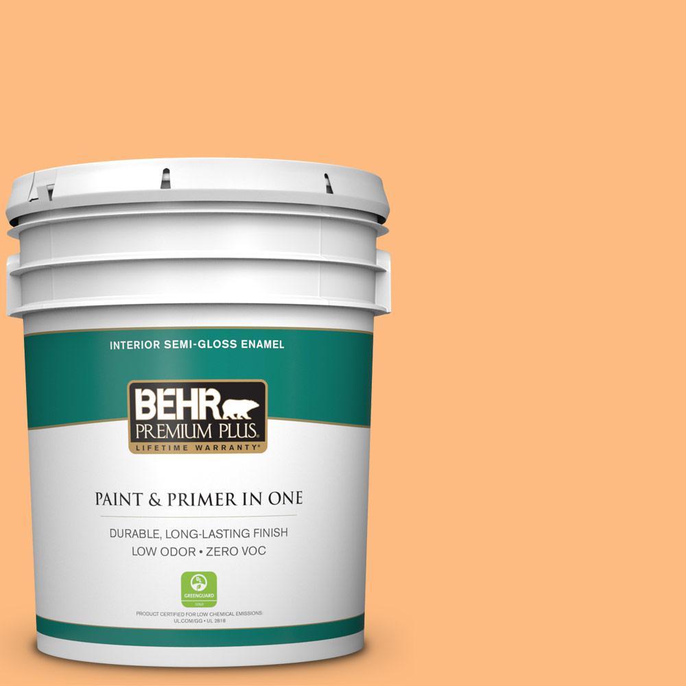 BEHR Premium Plus 5-gal. #270B-4 Apricot Flower Zero VOC Semi-Gloss Enamel Interior Paint