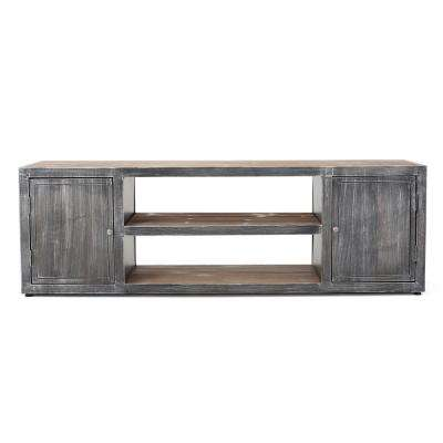 Rustic Gray Wood TV Console with 2 Doors and 2 Shelves