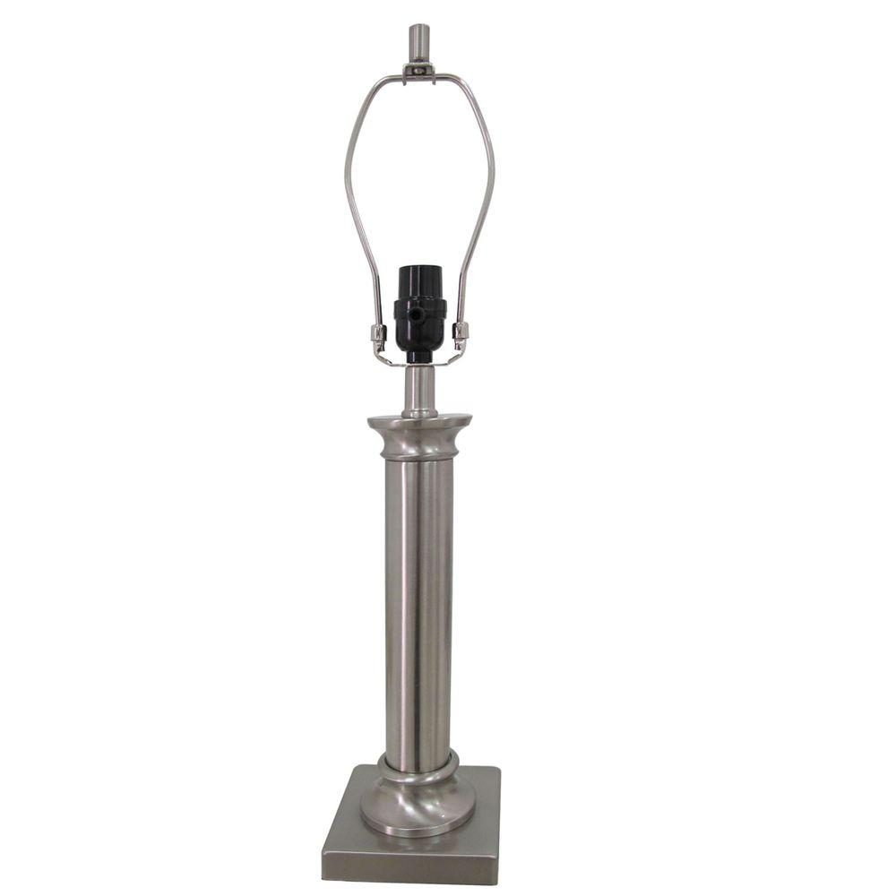 hampton bay Mix & Match 24.25 in. Brushed Nickel Column Table Lamp - Title 20