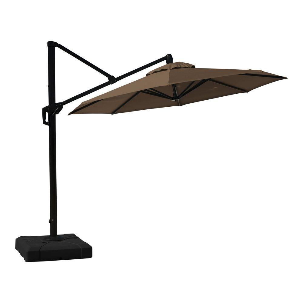10 ft. Aluminum Round Tilt Patio Umbrella in Chestnut Brown