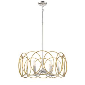 Chassell 6-Light Honey Gold with Polished Nickel Pendant