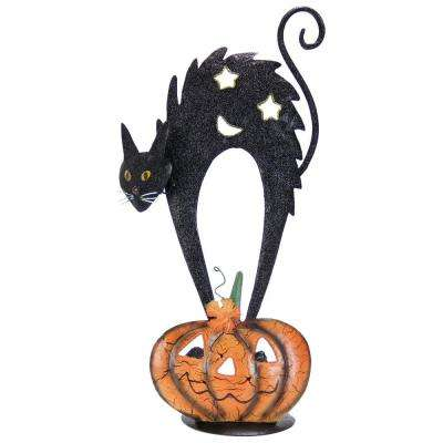 20 in. Metal Black Cat on Pumpkin Candle Holder