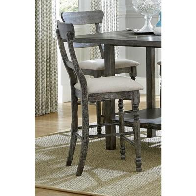 Muse Weathered Pepper Upholstered Ladderback Counter Chair (2/ctn)
