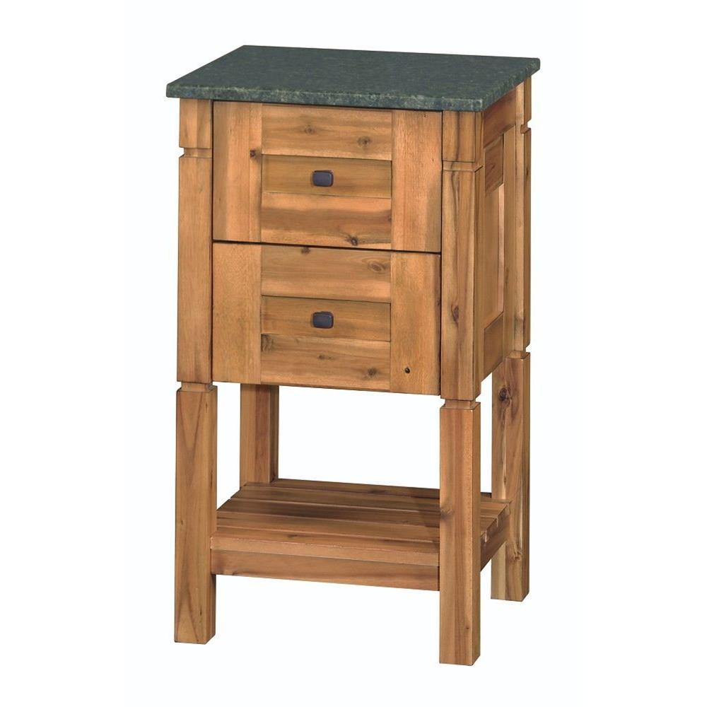Bredon 19 in. Linen Cabinet in Rustic Natural with Granite Vanity Top in Uba Tuba