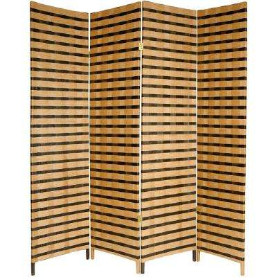 6 ft. Brown 2-Tone Natural Fiber 4-Panel Room Divider