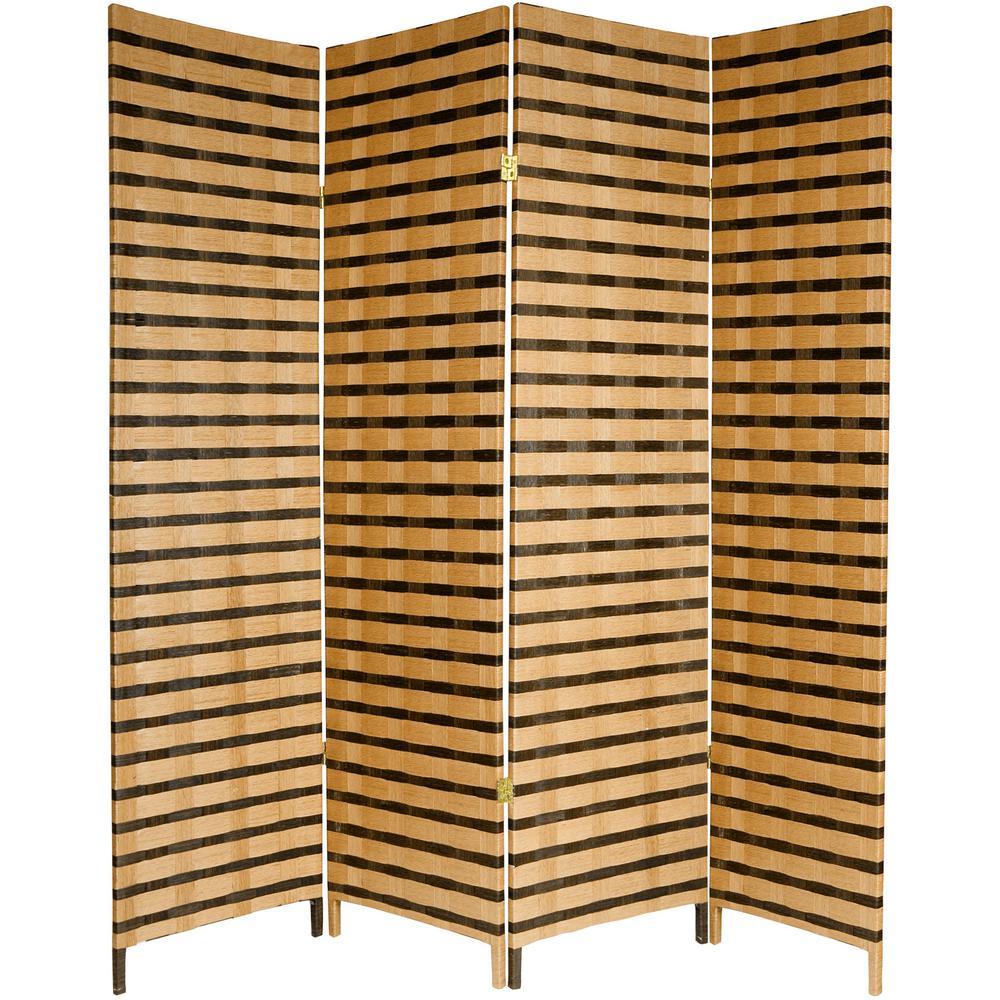 6 ft. Brown 2-Tone Natural Fiber 4-Panel Room Divider