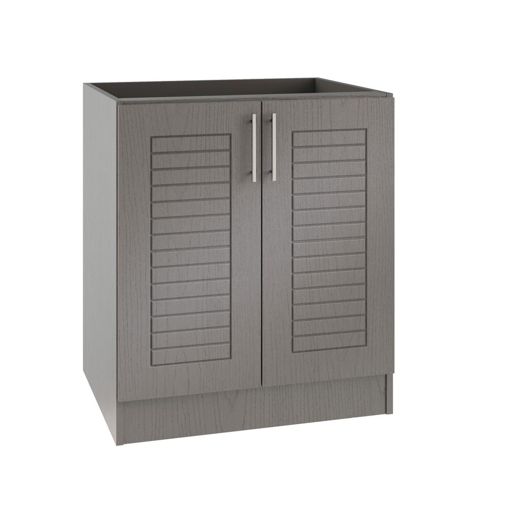 WeatherStrong Assembled 24x34.5x24 in. Key West Island Outdoor Kitchen Base  Cabinet with 2 Full Height Doors in Rustic Gray
