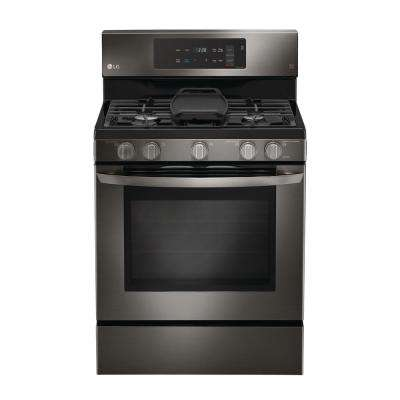 5.4 cu. ft. Gas Range with Even Jet Fan Convection Oven in Black Stainless Steel