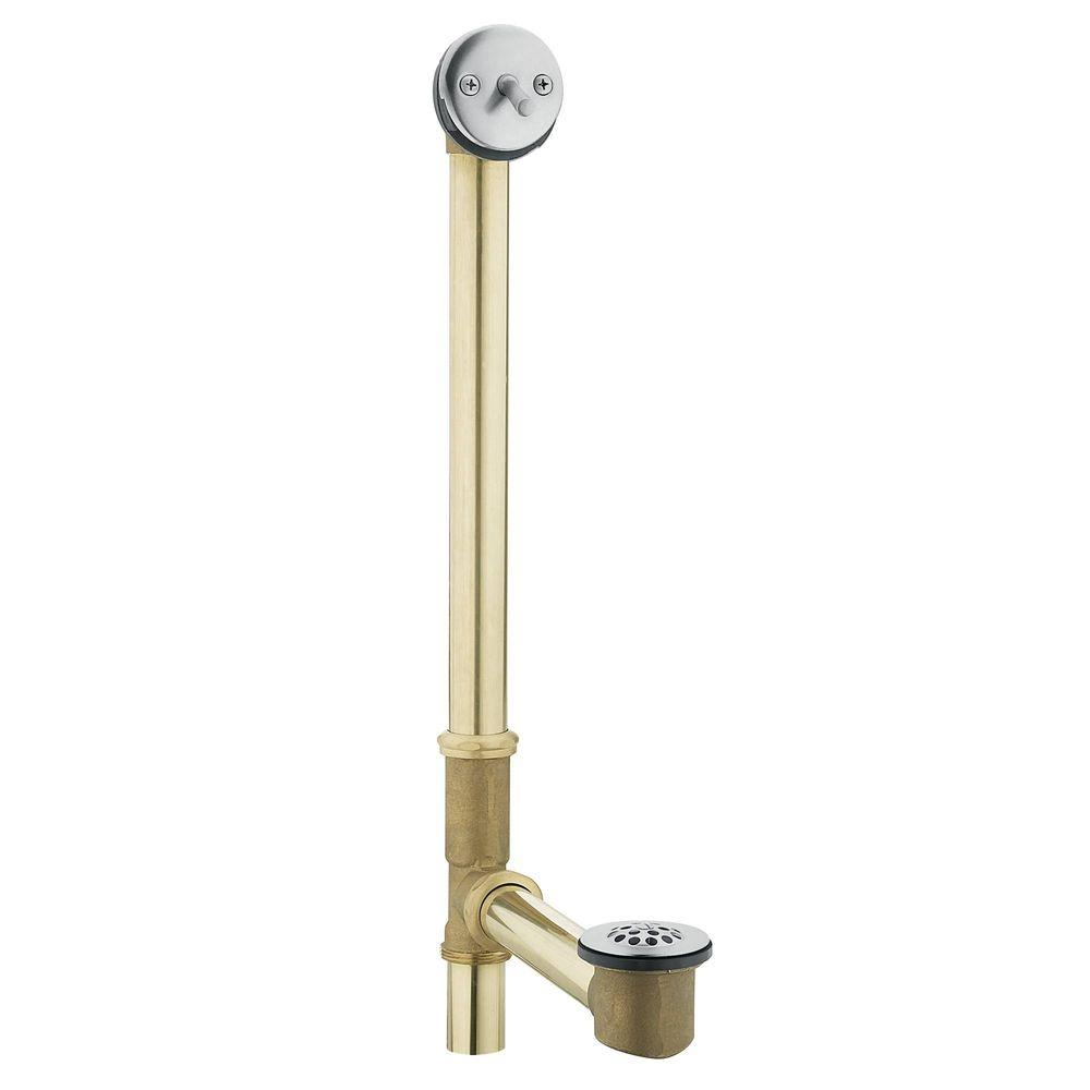 MOEN Tub Drain Brass Tubing Whirlpool with Trip Lever Drain Assembly ...