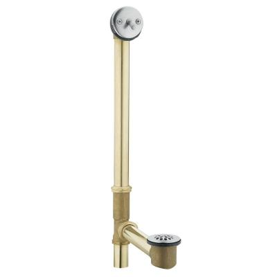 Tub Drain Brass Tubing Whirlpool with Trip Lever Drain Assembly in Chrome