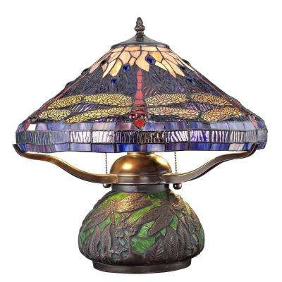 Tiffany Dragonfly 14 in. Bronze Table Lamp with Mosaic Base