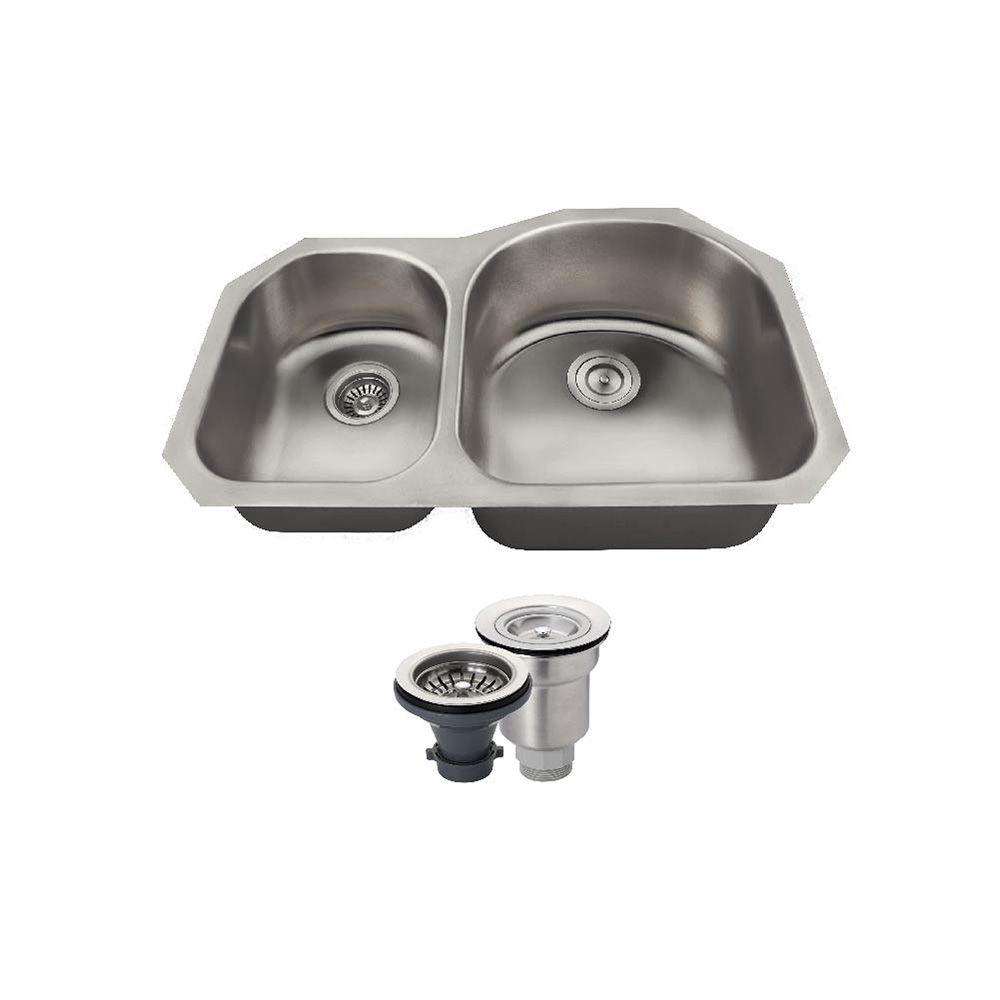 All-in-One Undermount Stainless Steel 31 in. Right Double...