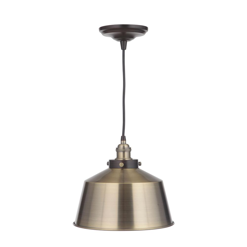 Home Decorators Collection Vintage Chic 1-Light Brushed Brass Pendant with Brushed Brass Lamp Socket