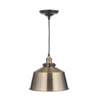Vintage Chic 1-Light Brushed Brass Pendant with Brushed Brass Lamp Socket