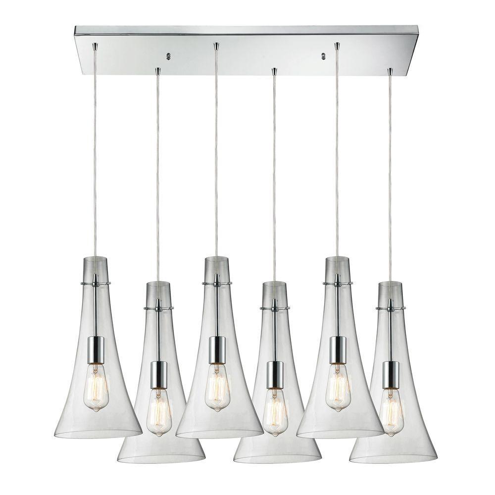 Titan Lighting Menlow Park 6-Light Polished Chrome Ceiling Mount Pendant