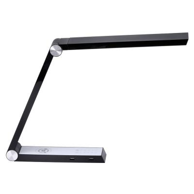 16 in. Black Desk Lamp with Wireless Charging, USB Ports