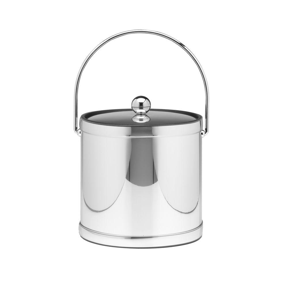 Kraftware Mylar Polished Chrome 3 Qt. Ice Bucket with Metal Cover