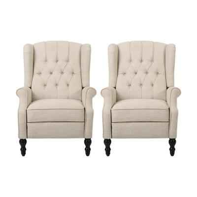 Walter Beige and Dark Brown Wingback Tufted Recliner (Set of 2)