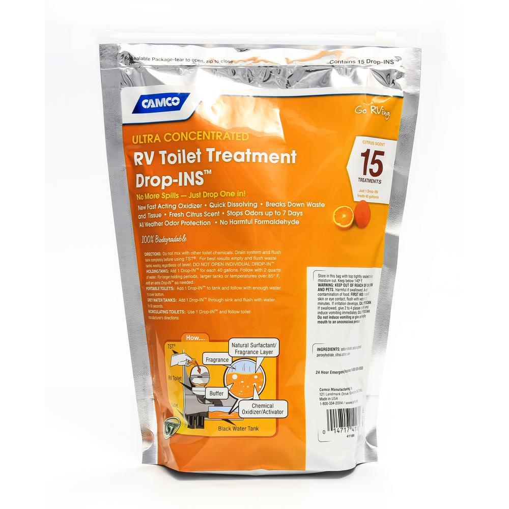 Camco Tst 12 Oz Orange Drop Ins Rv Toilet Treatment 12 Pack 41189 The Home Depot