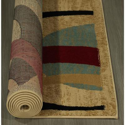 Contemporary Abstract Beige 5 ft. x 7 ft. Area Rug