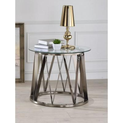 Perjan Gold with Circular Glass End Table