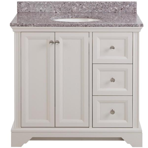Stratfield 37 in. W x 22 in. D Bathroom Vanity in Cream with Stone Effect Vanity Top in Mineral Gray with White Sink