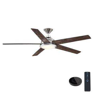 Haverbrook 60 in. LED Polished Nickel Ceiling Fan with Light and Remote Control works with Google and Alexa