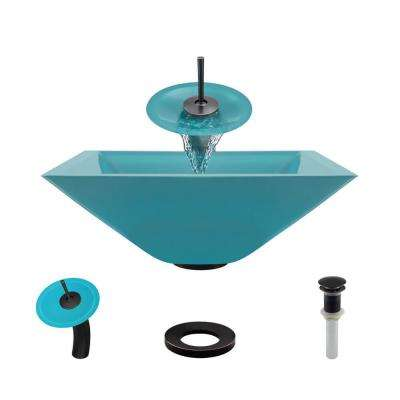 Glass Vessel Sink in Cerulean with Waterfall Faucet and Pop-Up Drain in Antique Bronze