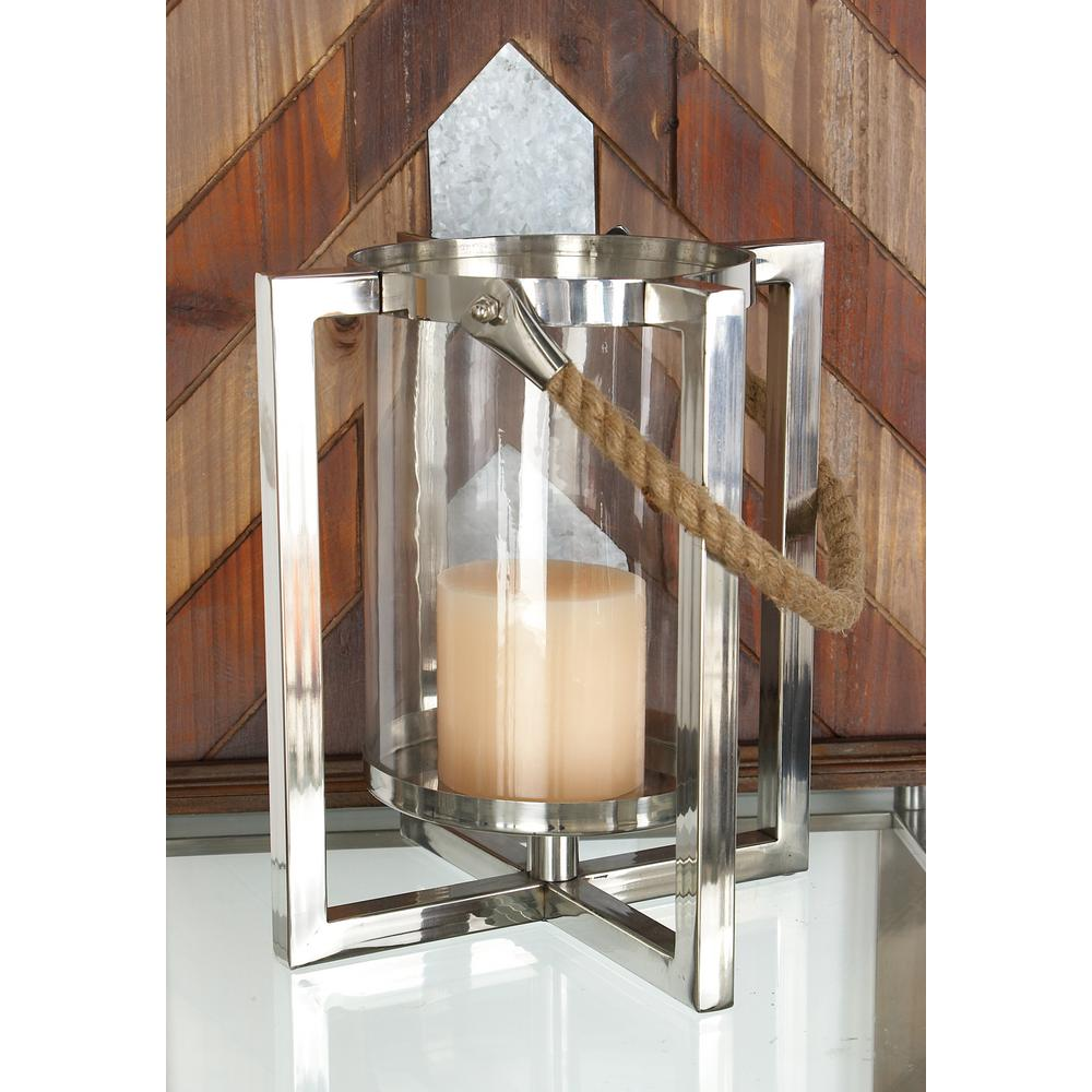 Litton Lane 22 in. Silver Stainless Steel and Glass Hurricane Lantern Candle Holder